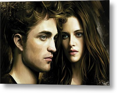 Metal Print featuring the painting Twilight  Kristen Stewart And Robert Pattinson Artwork 4 by Sheraz A
