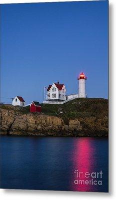 Twilight Nubble Lighthouse Metal Print