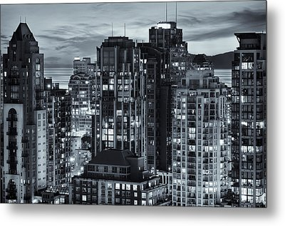 Metal Print featuring the photograph Twilight On Cityscape Of Vancouver Overlooking English Bay - Greeting Card by Amyn Nasser