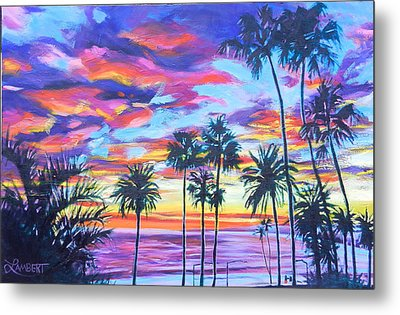 Twilight Palms Metal Print