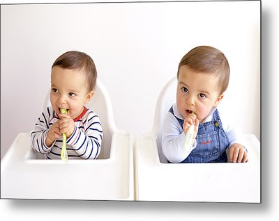Twin Baby Boys Playing With Spoons Metal Print