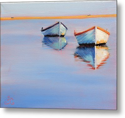 Twin Boats Metal Print by Trina Teele
