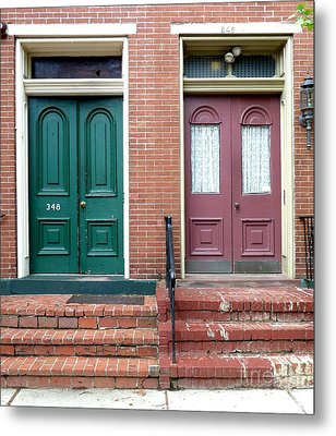 Metal Print featuring the photograph Twin Doors by Sally Simon