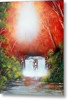 Metal Print featuring the painting Twin Falls  by Greg Moores