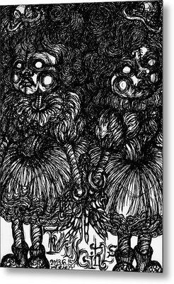 Twin Girls Metal Print by Akiko Okabe