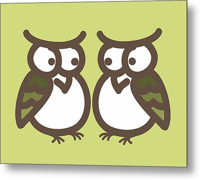 Twin Owl Babies- Nursery Wall Art Metal Print