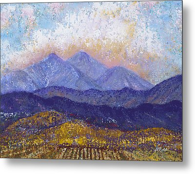 Metal Print featuring the painting Twin Peaks Above The Fruited Plain by Margaret Bobb