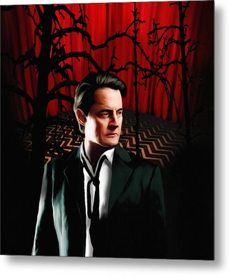 Metal Print featuring the painting Twin Peaks  Dale Cooper by Jeff DOttavio