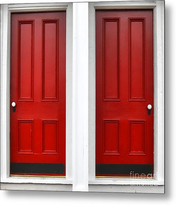 Twin Red Doors Metal Print by Olivier Le Queinec