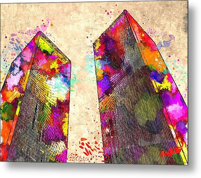 Twin Towers Grunge Metal Print by Daniel Janda
