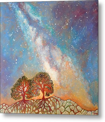 Twin Trees And The Milky Way Metal Print by Cedar Lee