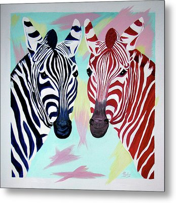Metal Print featuring the painting Twin Zs by Phyllis Kaltenbach