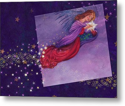 twinkling Angel with star Metal Print by Judith Cheng