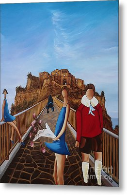 Twins On Bridge Metal Print by William Cain
