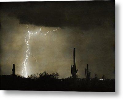 Twisted Desert Lightning Storm Metal Print
