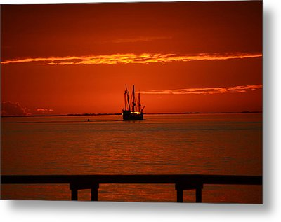 Metal Print featuring the photograph Two 3-masted Schooners Sail Off Into The Santa Rosa Sound Sunset by Jeff at JSJ Photography