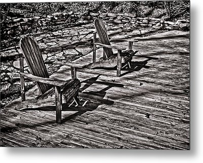 Metal Print featuring the photograph Two Adirondack Chairs In B/w by Greg Jackson