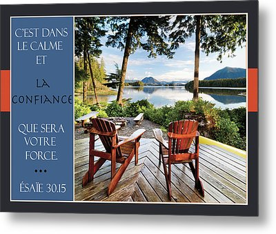 Two Adirondack Chairs On A Deck Looking Metal Print by Lorna Rande