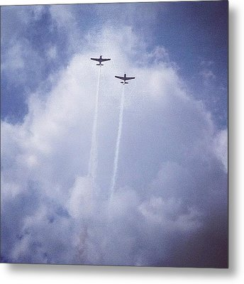 Two Airplanes Flying Metal Print by Christy Beckwith