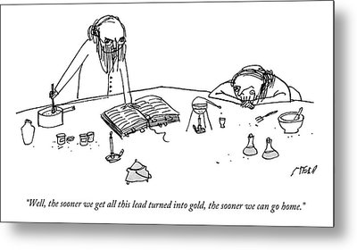 Two Alchemists With Beards Stand At A Lab Bench Metal Print