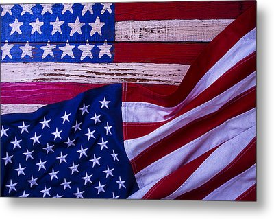 Two American Flags Metal Print