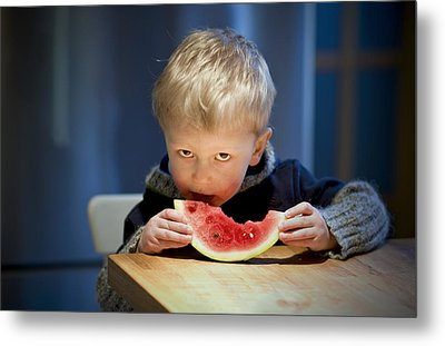 Two And A Half Years Of Watermelon Love Metal Print by Valerie Rosen