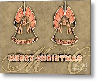 Two Angels Vintage - Merry Christmas Card Metal Print