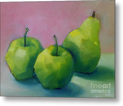 Two Apples And One Pear Metal Print