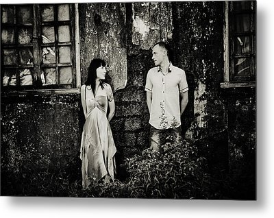 Two At The Old Wall. Margao. India Metal Print by Jenny Rainbow