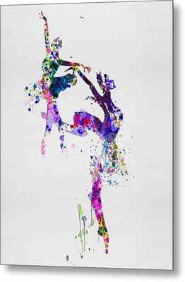 Two Ballerinas Dance Watercolor Metal Print by Naxart Studio