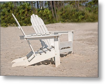 Metal Print featuring the photograph Two Beach Chairs by Charles Beeler