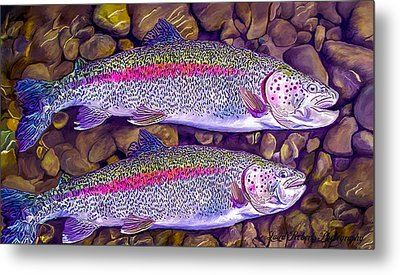 Two Beauties - Trout Metal Print by Laird Roberts