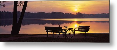 Two Benches With A Bicycle Metal Print by Panoramic Images
