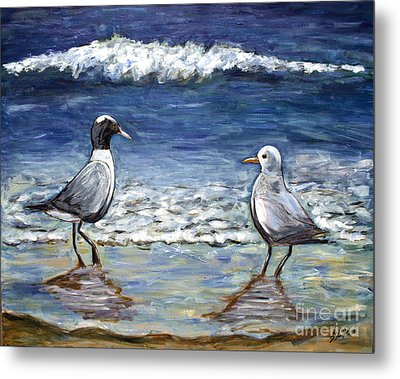 Two Birds With Foam Metal Print by Jeanne Forsythe