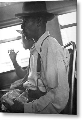 Two Black Men On A Bus Metal Print by Underwood Archives