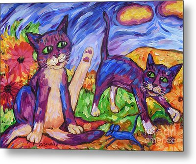 Metal Print featuring the painting Two Blue Cats Among Daisies by Dianne  Connolly