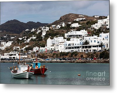 Two Boats In The Mykonos Harbor Metal Print by John Rizzuto