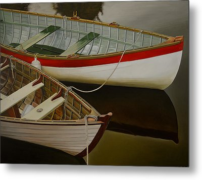Metal Print featuring the painting Two Boats by Thu Nguyen