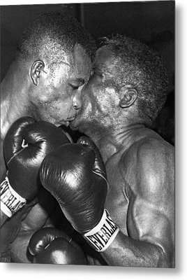 Two Boxers In A Clinch Metal Print by Underwood Archives