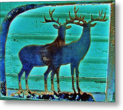 Two Bucks Metal Print by Larry Campbell