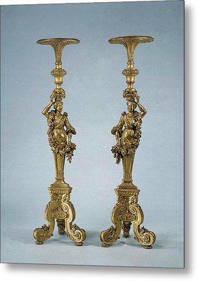Two Candle Stands Torchères, Anonymous Metal Print by Quint Lox