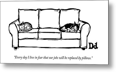 Two Cats Curl Up At Each End Of A Sofa Metal Print
