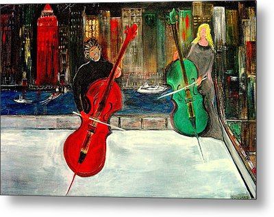 Two  Cello Players  Rooftop  Metal Print by Rick Todaro
