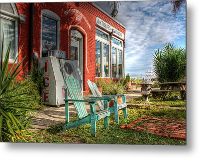 Two Chairs Around The Corner From The Old Stuff Shop Metal Print by Lynn Jordan