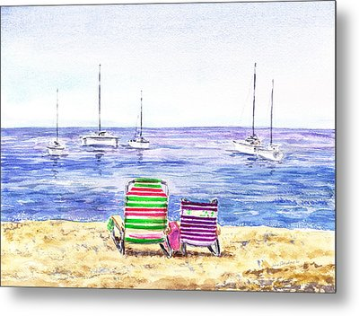 Two Chairs On The Beach Metal Print by Irina Sztukowski