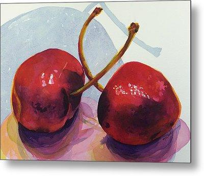 Two Cherries Metal Print by Donna Pierce-Clark