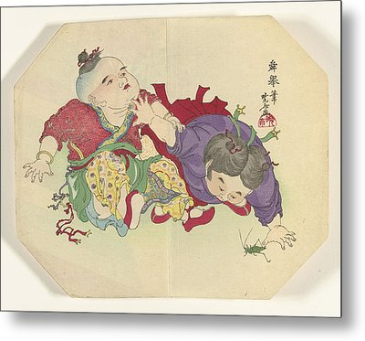 Two Children Looking At Grasshopper, Kawanabe Kyôsai Metal Print by Litz Collection
