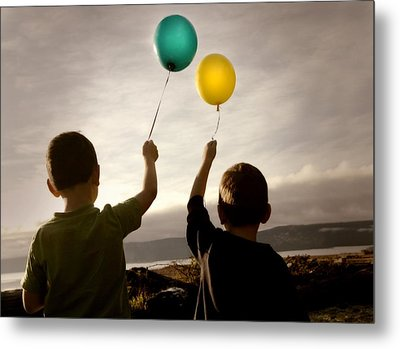 Two Children With Balloons Metal Print