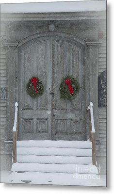 Two Christmas Wreaths Metal Print by Alana Ranney