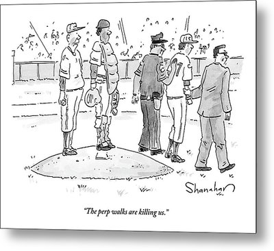 Two Cops, One In Plain Clothes, Arrest A Pitcher Metal Print